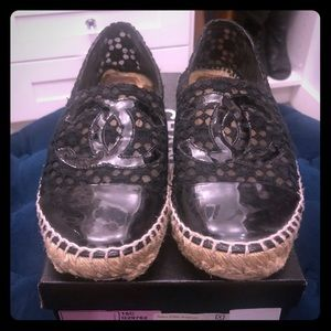 Chanel Black Lace and Patent Leather espadrilles